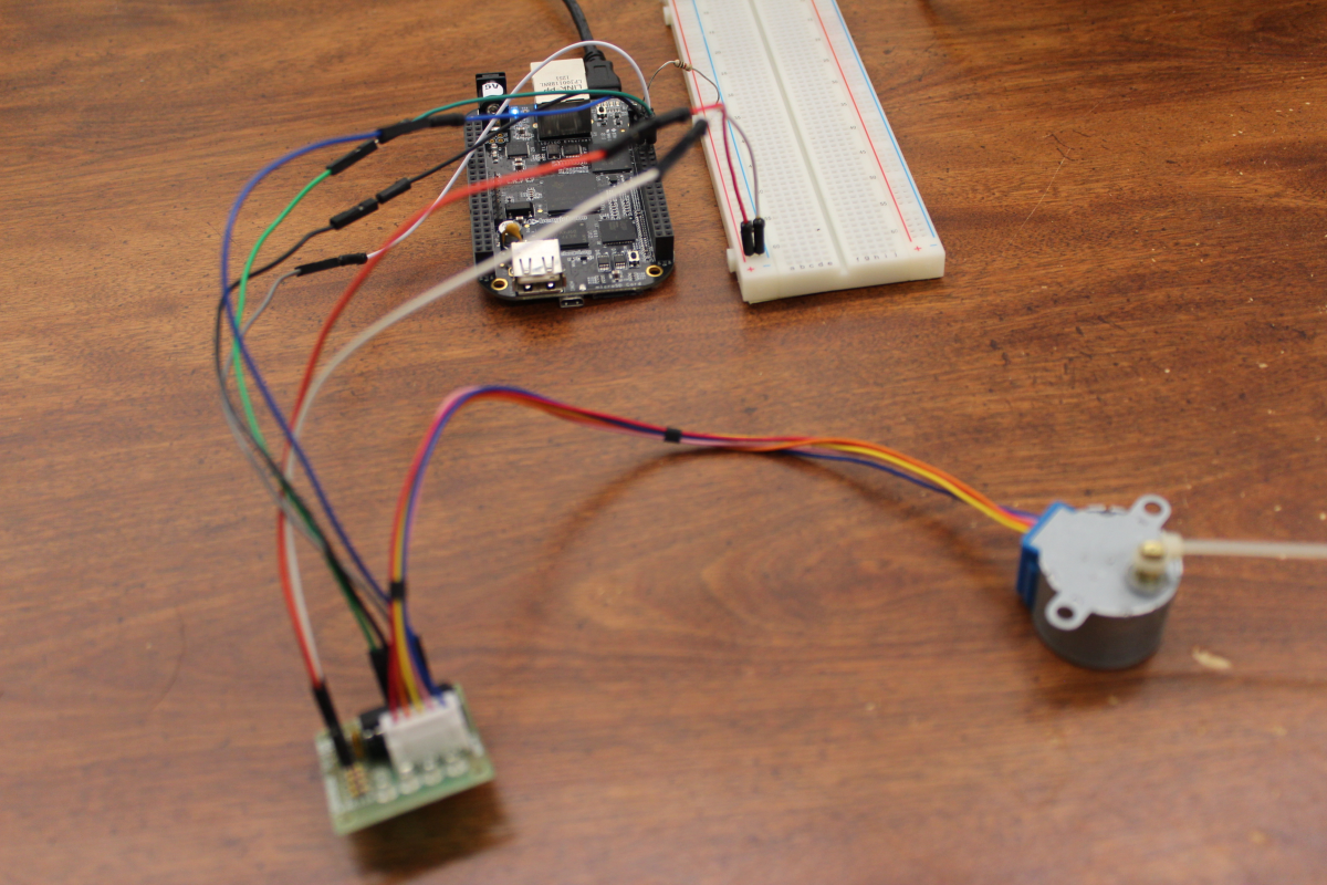 Stepper motor wired up to the BeagleBone Black.